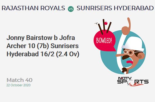 RR vs SRH: Match 40: WICKET! Jonny Bairstow b Jofra Archer 10 (7b, 1x4, 1x6). Sunrisers Hyderabad 16/2 (2.4 Ov). Target: 155; RRR: 8.02