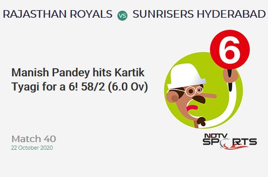 RR vs SRH: Match 40: It's a SIX! Manish Pandey hits Kartik Tyagi. Sunrisers Hyderabad 58/2 (6.0 Ov). Target: 155; RRR: 6.93