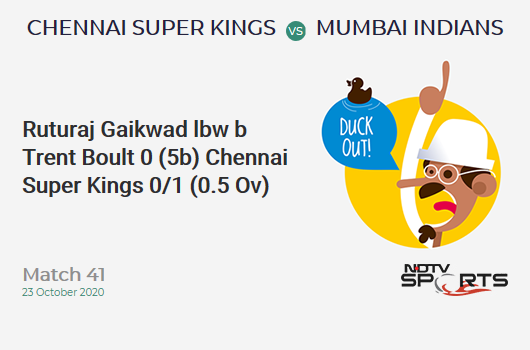 CSK vs MI: Match 41: WICKET! Ruturaj Gaikwad lbw b Trent Boult 0 (5b, 0x4, 0x6). Chennai Super Kings 0/1 (0.5 Ov). CRR: 0