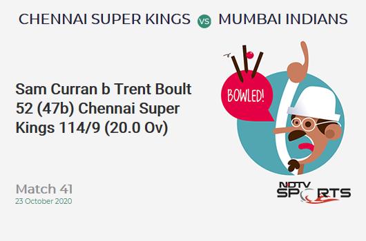 CSK vs MI: Match 41: WICKET! Sam Curran b Trent Boult 52 (47b, 4x4, 2x6). Chennai Super Kings 114/9 (20.0 Ov). CRR: 5.7