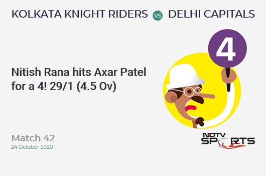 KKR vs DC: Match 42: Nitish Rana hits Axar Patel for a 4! Kolkata Knight Riders 29/1 (4.5 Ov). CRR: 6