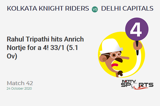 KKR vs DC: Match 42: Rahul Tripathi hits Anrich Nortje for a 4! Kolkata Knight Riders 33/1 (5.1 Ov). CRR: 6.38