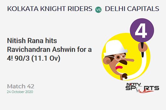KKR vs DC: Match 42: Nitish Rana hits Ravichandran Ashwin for a 4! Kolkata Knight Riders 90/3 (11.1 Ov). CRR: 8.05