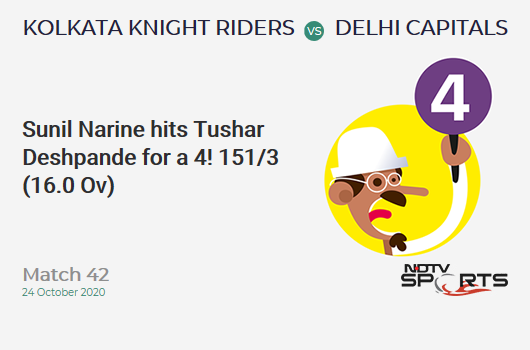 KKR vs DC: Match 42: Sunil Narine hits Tushar Deshpande for a 4! Kolkata Knight Riders 151/3 (16.0 Ov). CRR: 9.43