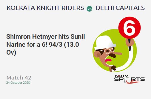 KKR vs DC: Match 42: It's a SIX! Shimron Hetmyer hits Sunil Narine. Delhi Capitals 94/3 (13.0 Ov). Target: 195; RRR: 14.43