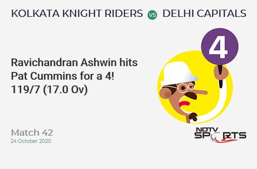 KKR vs DC: Match 42: Ravichandran Ashwin hits Pat Cummins for a 4! Delhi Capitals 119/7 (17.0 Ov). Target: 195; RRR: 25.33