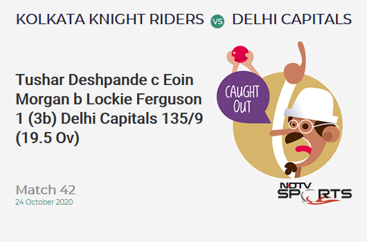 KKR vs DC: Match 42: WICKET! Tushar Deshpande c Eoin Morgan b Lockie Ferguson 1 (3b, 0x4, 0x6). Delhi Capitals 135/9 (19.5 Ov). Target: 195; RRR: 360