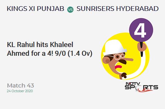 KXIP vs SRH: Match 43: KL Rahul hits Khaleel Ahmed for a 4! Kings XI Punjab 9/0 (1.4 Ov). CRR: 5.4