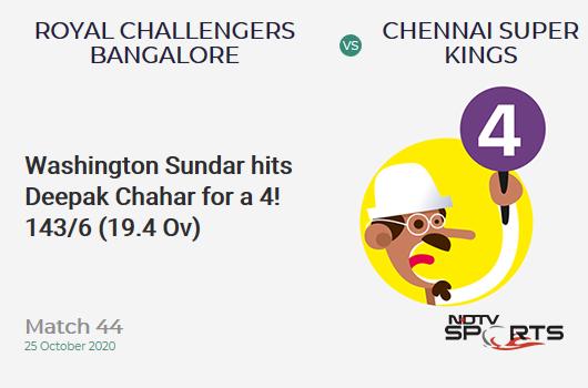 RCB vs CSK: Match 44: Washington Sundar hits Deepak Chahar for a 4! Royal Challengers Bangalore 143/6 (19.4 Ov). CRR: 7.27