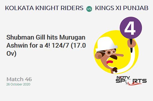 KKR vs KXIP: Match 46: Shubman Gill hits Murugan Ashwin for a 4! Kolkata Knight Riders 124/7 (17.0 Ov). CRR: 7.29