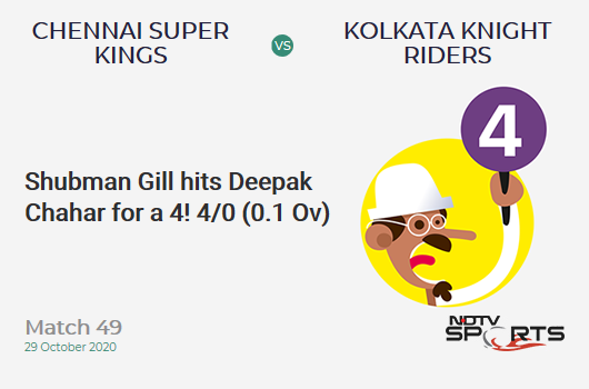 CSK vs KKR: Match 49: Shubman Gill hits Deepak Chahar for a 4! Kolkata Knight Riders 4/0 (0.1 Ov). CRR: 24