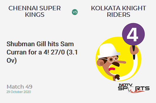 CSK vs KKR: Match 49: Shubman Gill hits Sam Curran for a 4! Kolkata Knight Riders 27/0 (3.1 Ov). CRR: 8.52