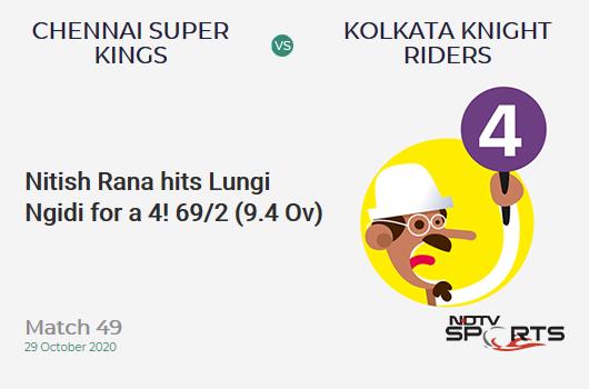 CSK vs KKR: Match 49: Nitish Rana hits Lungi Ngidi for a 4! Kolkata Knight Riders 69/2 (9.4 Ov). CRR: 7.13