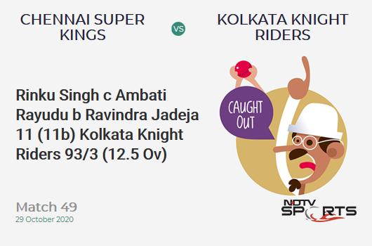 CSK vs KKR: Match 49: WICKET! Rinku Singh c Ambati Rayudu b Ravindra Jadeja 11 (11b, 1x4, 0x6). Kolkata Knight Riders 93/3 (12.5 Ov). CRR: 7.24