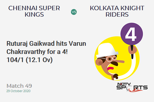 CSK vs KKR: Match 49: Ruturaj Gaikwad hits Varun Chakravarthy for a 4! Chennai Super Kings 104/1 (12.1 Ov). Target: 173; RRR: 8.81