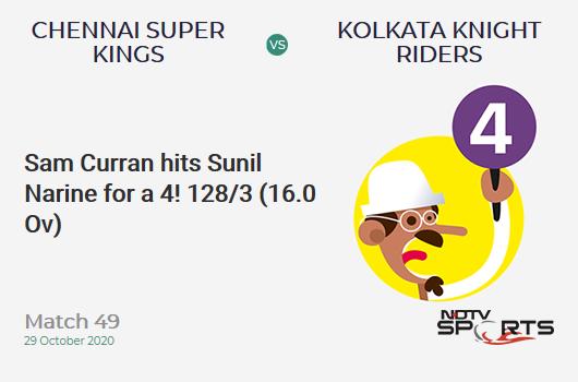 CSK vs KKR: Match 49: Sam Curran hits Sunil Narine for a 4! Chennai Super Kings 128/3 (16.0 Ov). Target: 173; RRR: 11.25