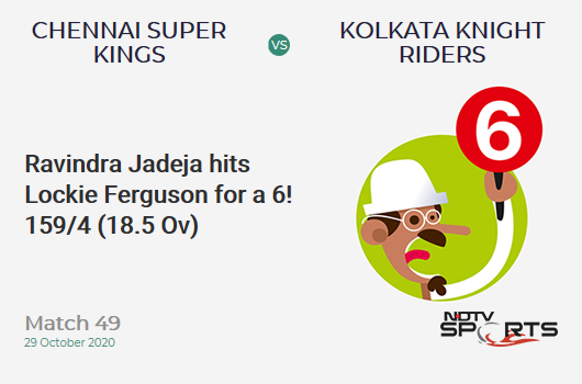 CSK vs KKR: Match 49: It's a SIX! Ravindra Jadeja hits Lockie Ferguson. Chennai Super Kings 159/4 (18.5 Ov). Target: 173; RRR: 12