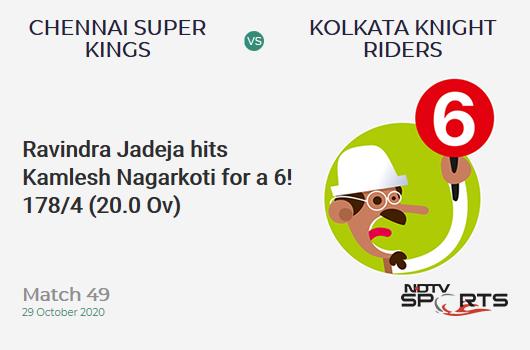 CSK vs KKR: Match 49: It's a SIX! Ravindra Jadeja hits Kamlesh Nagarkoti. Chennai Super Kings 178/4 (20.0 Ov). Target: 173; RRR: