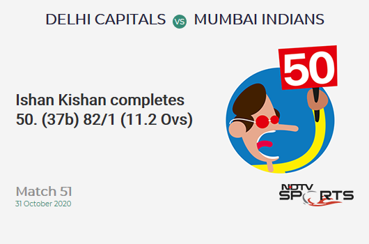 DC vs MI: Match 51: FIFTY! Ishan Kishan completes 50 (37b, 7x4, 1x6). Mumbai Indians 82/1 (11.2 Ovs). Target: 111; RRR: 3.35