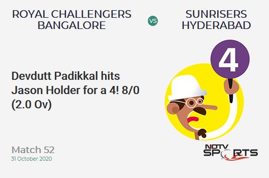RCB vs SRH: Match 52: Devdutt Padikkal hits Jason Holder for a 4! Royal Challengers Bangalore 8/0 (2.0 Ov). CRR: 4