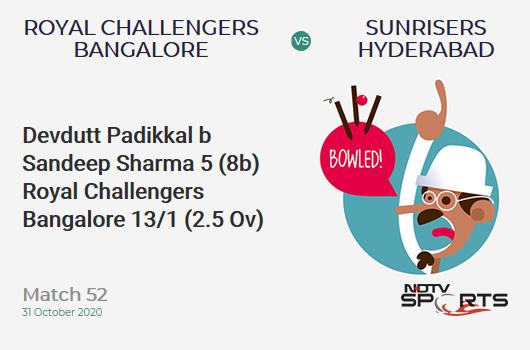 RCB vs SRH: Match 52: WICKET! Devdutt Padikkal b Sandeep Sharma 5 (8b, 1x4, 0x6). Royal Challengers Bangalore 13/1 (2.5 Ov). CRR: 4.58