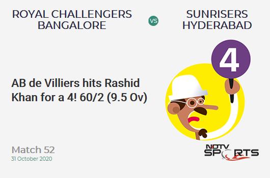 RCB vs SRH: Match 52: AB de Villiers hits Rashid Khan for a 4! Royal Challengers Bangalore 60/2 (9.5 Ov). CRR: 6.10