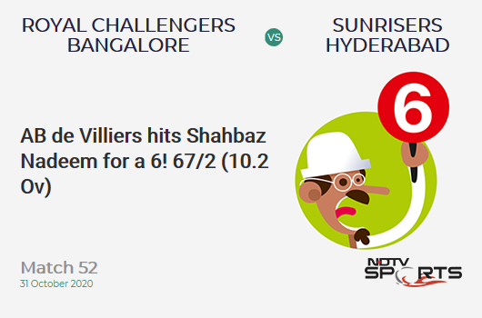 RCB vs SRH: Match 52: It's a SIX! AB de Villiers hits Shahbaz Nadeem. Royal Challengers Bangalore 67/2 (10.2 Ov). CRR: 6.48