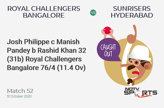 RCB vs SRH: Match 52: WICKET! Josh Philippe c Manish Pandey b Rashid Khan 32 (31b, 4x4, 0x6). Royal Challengers Bangalore 76/4 (11.4 Ov). CRR: 6.51