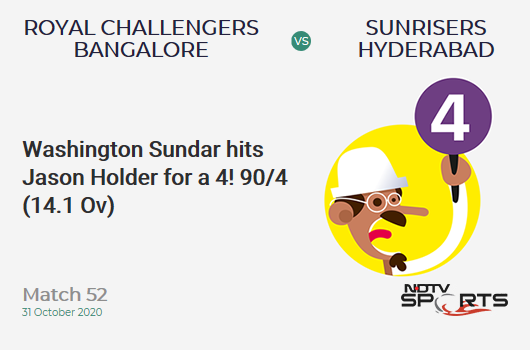 RCB vs SRH: Match 52: Washington Sundar hits Jason Holder for a 4! Royal Challengers Bangalore 90/4 (14.1 Ov). CRR: 6.35