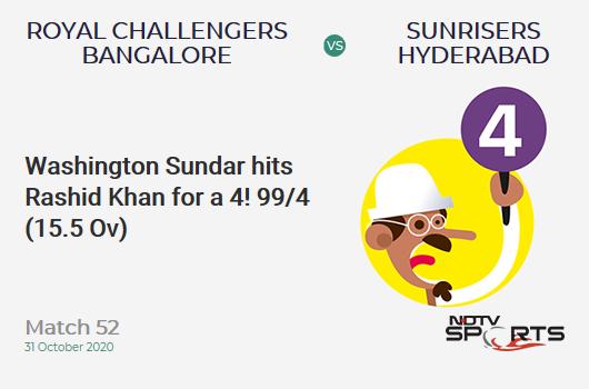 RCB vs SRH: Match 52: Washington Sundar hits Rashid Khan for a 4! Royal Challengers Bangalore 99/4 (15.5 Ov). CRR: 6.25