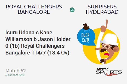 RCB vs SRH: Match 52: WICKET! Isuru Udana c Kane Williamson b Jason Holder 0 (1b, 0x4, 0x6). Royal Challengers Bangalore 114/7 (18.4 Ov). CRR: 6.10