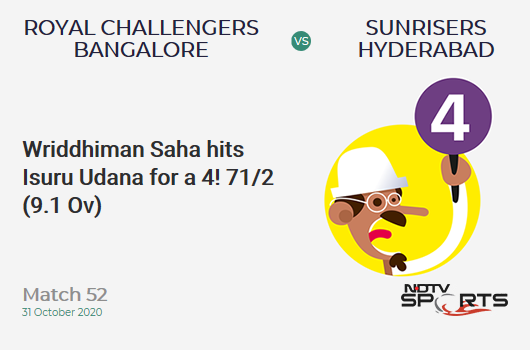 RCB vs SRH: Match 52: Wriddhiman Saha hits Isuru Udana for a 4! Sunrisers Hyderabad 71/2 (9.1 Ov). Target: 121; RRR: 4.62