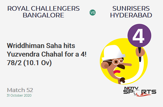 RCB vs SRH: Match 52: Wriddhiman Saha hits Yuzvendra Chahal for a 4! Sunrisers Hyderabad 78/2 (10.1 Ov). Target: 121; RRR: 4.37