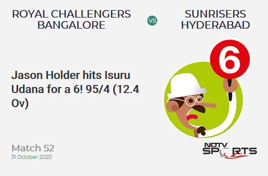 RCB vs SRH: Match 52: It's a SIX! Jason Holder hits Isuru Udana. Sunrisers Hyderabad 95/4 (12.4 Ov). Target: 121; RRR: 3.55