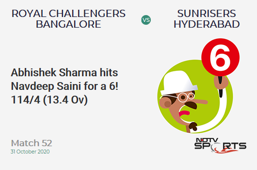 RCB vs SRH: Match 52: It's a SIX! Abhishek Sharma hits Navdeep Saini. Sunrisers Hyderabad 114/4 (13.4 Ov). Target: 121; RRR: 1.11