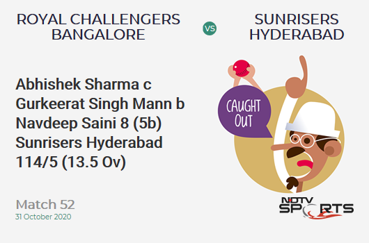 RCB vs SRH: Match 52: WICKET! Abhishek Sharma c Gurkeerat Singh Mann b Navdeep Saini 8 (5b, 0x4, 1x6). Sunrisers Hyderabad 114/5 (13.5 Ov). Target: 121; RRR: 1.14