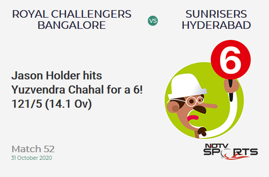 RCB vs SRH: Match 52: It's a SIX! Jason Holder hits Yuzvendra Chahal. Sunrisers Hyderabad 121/5 (14.1 Ov). Target: 121; RRR: