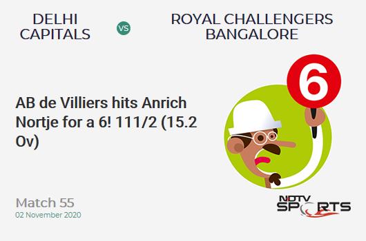 DC vs RCB: Match 55: It's a SIX! AB de Villiers hits Anrich Nortje. Royal Challengers Bangalore 111/2 (15.2 Ov). CRR: 7.23
