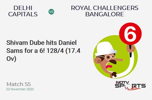 DC vs RCB: Match 55: It's a SIX! Shivam Dube hits Daniel Sams. Royal Challengers Bangalore 128/4 (17.4 Ov). CRR: 7.24