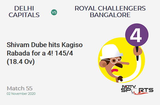 DC vs RCB: Match 55: Shivam Dube hits Kagiso Rabada for a 4! Royal Challengers Bangalore 145/4 (18.4 Ov). CRR: 7.76