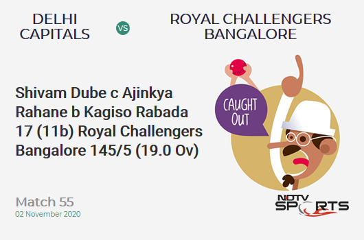 DC vs RCB: Match 55: WICKET! Shivam Dube c Ajinkya Rahane b Kagiso Rabada 17 (11b, 2x4, 1x6). Royal Challengers Bangalore 145/5 (19.0 Ov). CRR: 7.63