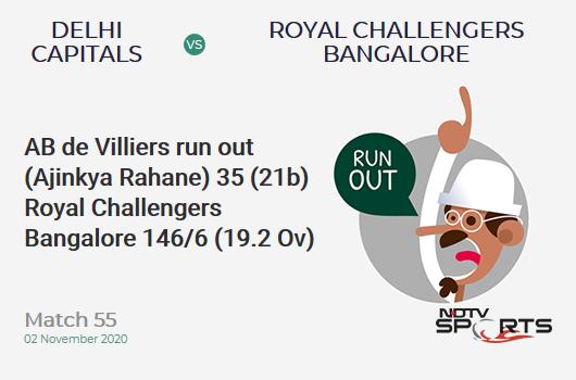 DC vs RCB: Match 55: WICKET! AB de Villiers run out (Ajinkya Rahane) 35 (21b, 1x4, 2x6). Royal Challengers Bangalore 146/6 (19.2 Ov). CRR: 7.55