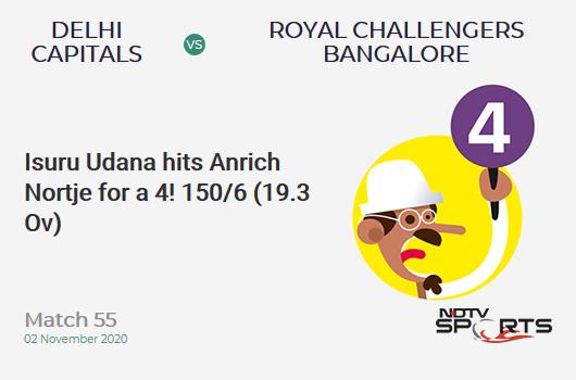 DC vs RCB: Match 55: Isuru Udana hits Anrich Nortje for a 4! Royal Challengers Bangalore 150/6 (19.3 Ov). CRR: 7.69