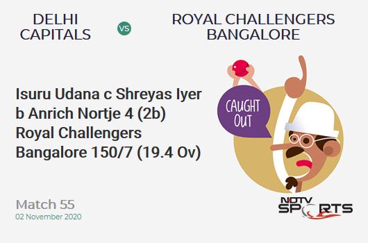 DC vs RCB: Match 55: WICKET! Isuru Udana c Shreyas Iyer b Anrich Nortje 4 (2b, 1x4, 0x6). Royal Challengers Bangalore 150/7 (19.4 Ov). CRR: 7.62