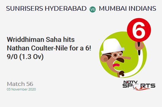SRH vs MI: Match 56: It's a SIX! Wriddhiman Saha hits Nathan Coulter-Nile. Sunrisers Hyderabad 9/0 (1.3 Ov). Target: 150; RRR: 7.62