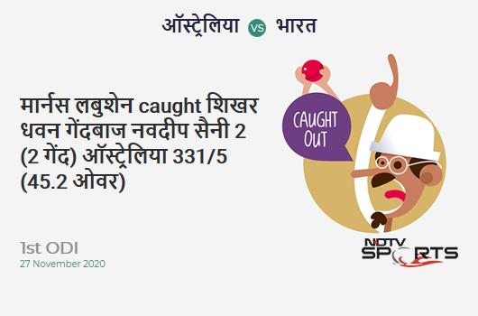 AUS vs IND: 1st ODI: WICKET! Marnus Labuschagne c Shikhar Dhawan b Navdeep Saini 2 (2b, 0x4, 0x6). AUS 331/5 (45.2 Ov). CRR: 7.3