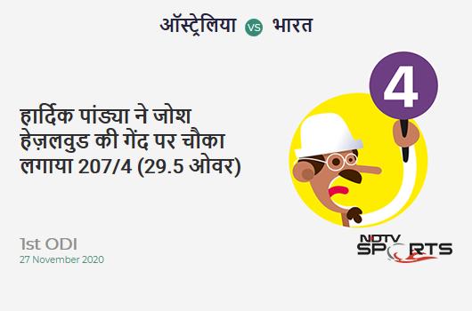 AUS vs IND: 1st ODI: Hardik Pandya hits Josh Hazlewood for a 4! IND 207/4 (29.5 Ov). Target: 375; RRR: 8.33