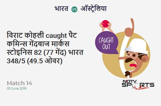 IND vs AUS: Match 14: WICKET! Virat Kohli c Pat Cummins b Marcus Stoinis 82 (77b, 4x4, 2x6). भारत 348/5 (49.5 Ov). CRR: 6.98