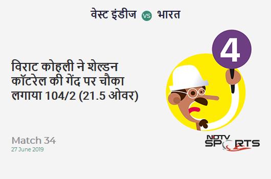 WI vs IND: Match 34: Virat Kohli hits Sheldon Cottrell for a 4! India 104/2 (21.5 Ov). CRR: 4.76