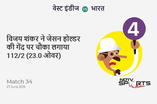 WI vs IND: Match 34: Vijay Shankar hits Jason Holder for a 4! India 112/2 (23.0 Ov). CRR: 4.86